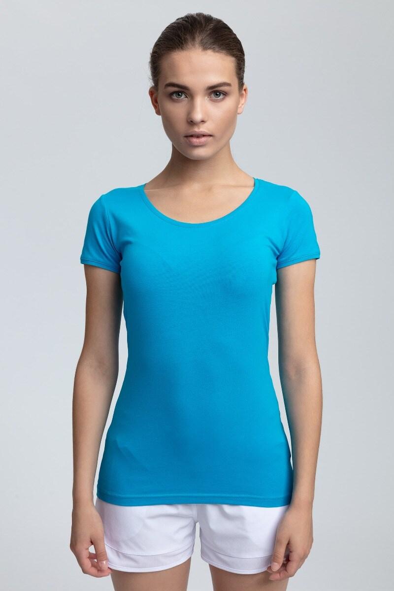 T-shirt damski TSD300A - błękit turkusowy
